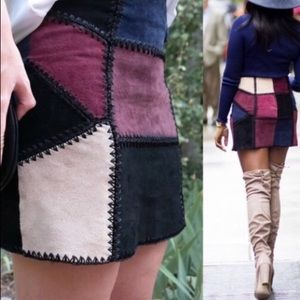 Zara Suede Patchwork skirt NEW